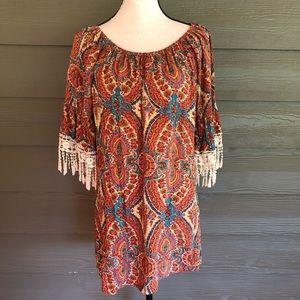 Umgee Boho Dress Lace Fringe Paisley Peasant Med